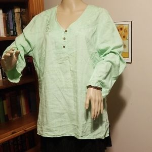 Size 1X Cynthia Rowley 3/4 Sleeve Green Blouse